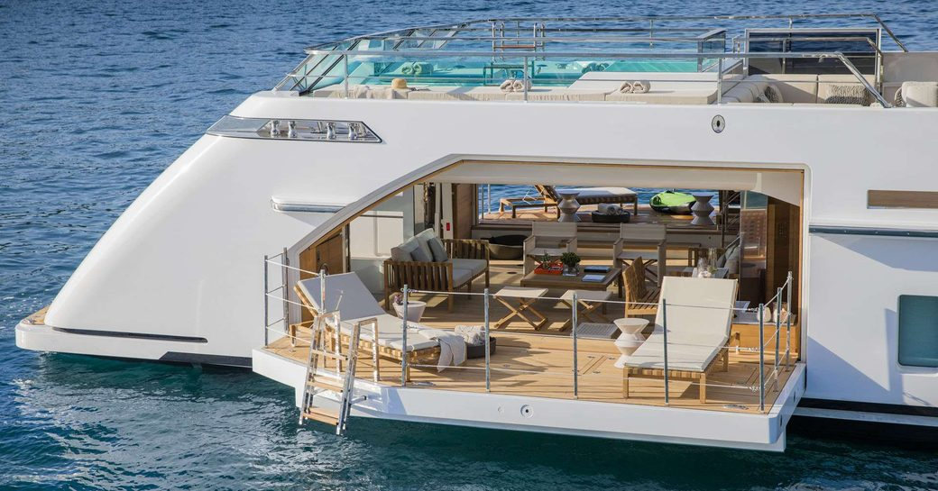 A foldout door which opens up the beach club of superyacht Seven Sins