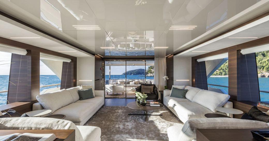 plush main salon on board superyacht December Six