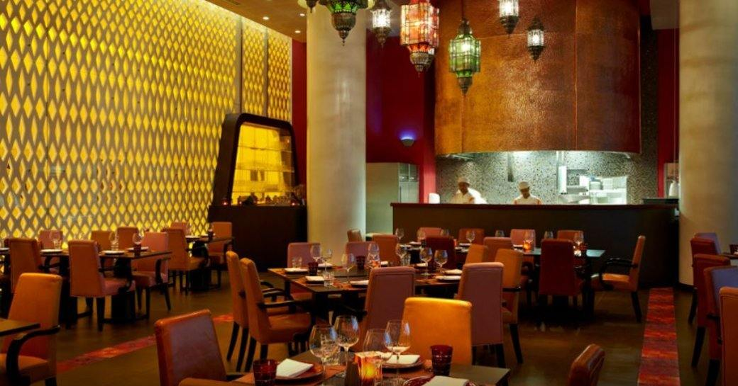 Indian-themed decor inside Angar restaurant which forms part of Yas Viceroy hotel