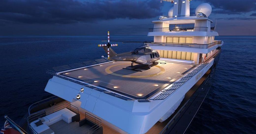 A graphic rendering of the exterior of luxury yacht 'Planet Nine'