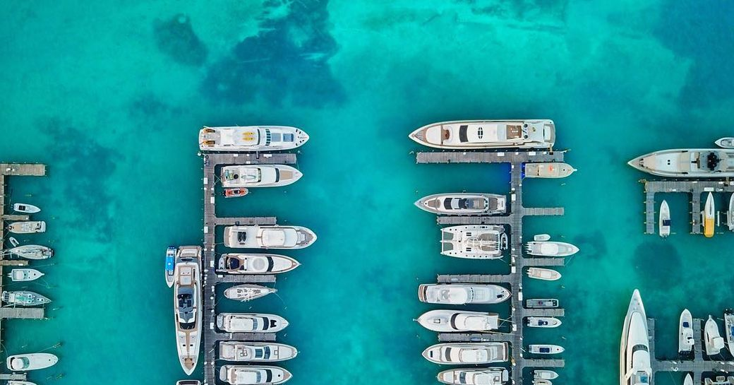 aerial view of yachts in the bahamas
