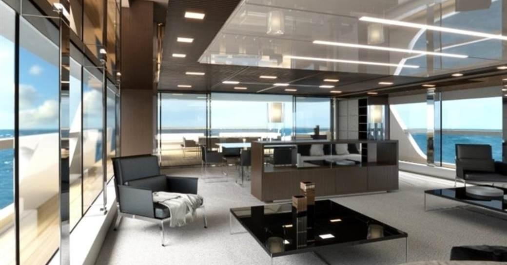 The main salon of luxury yacht 'Seven Sins'