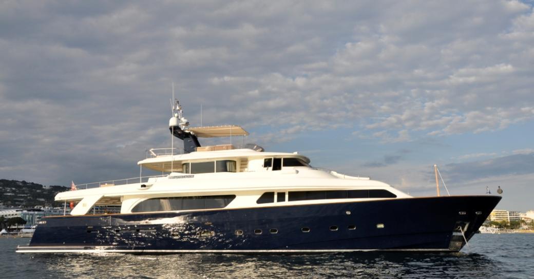 CONQUISTADOR motor yacht at anchor