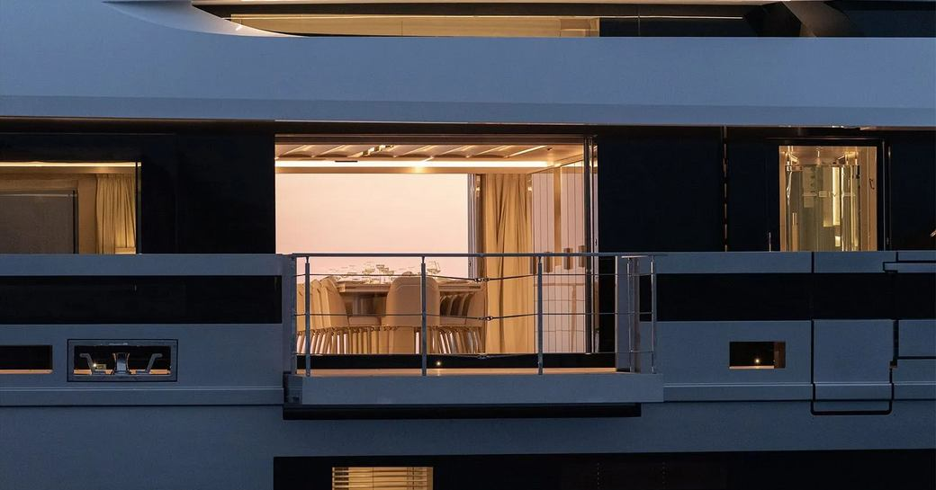 Fold down balconies from dining room on superyacht EIV