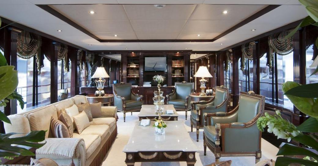 The main salon of luxury yacht Ionian Princess