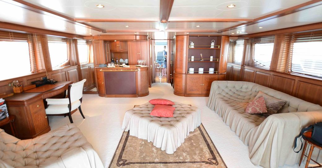 Main salon with seating aboard luxury yacht DXB