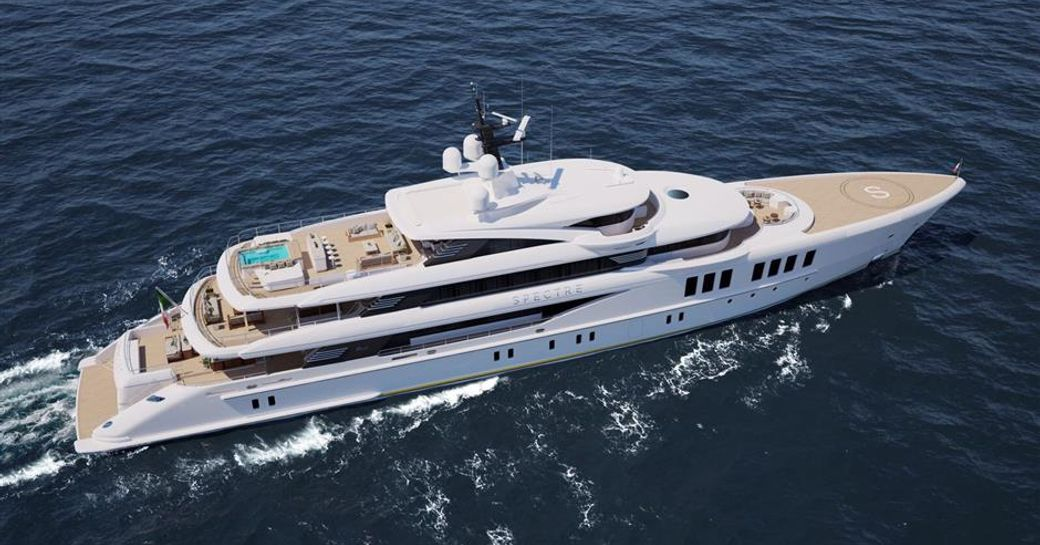 benetti superyacht spectre aerial shot of luxury yacht from above while underway