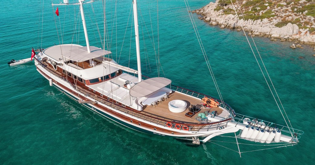 Gulet yacht at anchor in Greece