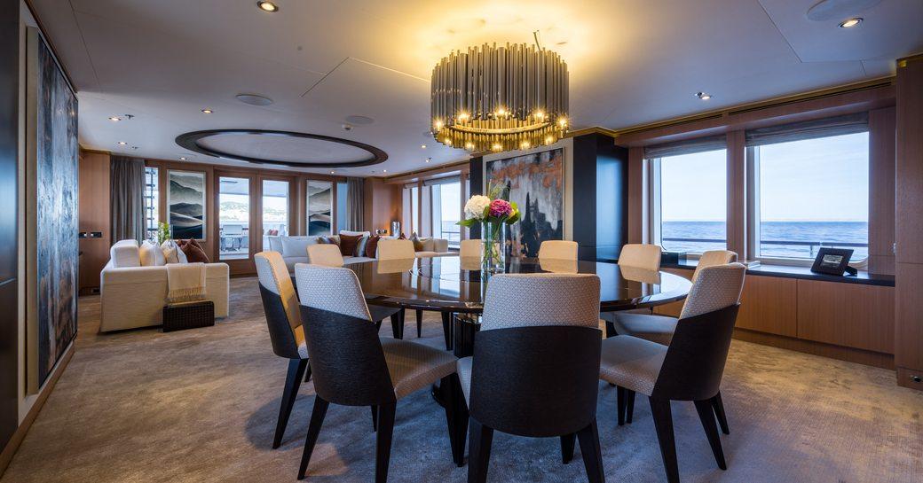 warm and sensuous main salon aboard luxury yacht GO