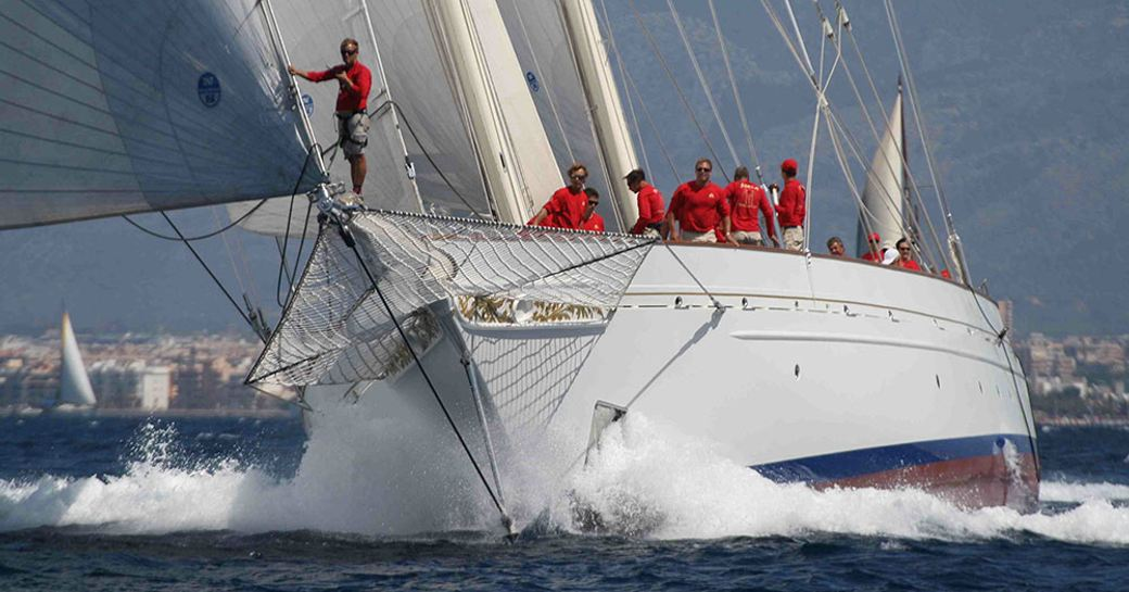 Adela and her crew fight it out for first place at the America's Cup Superyacht Regatta