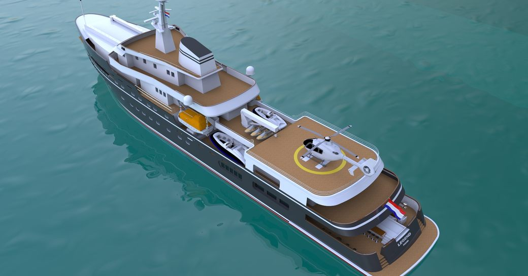 Expedition yacht Legend with helipad