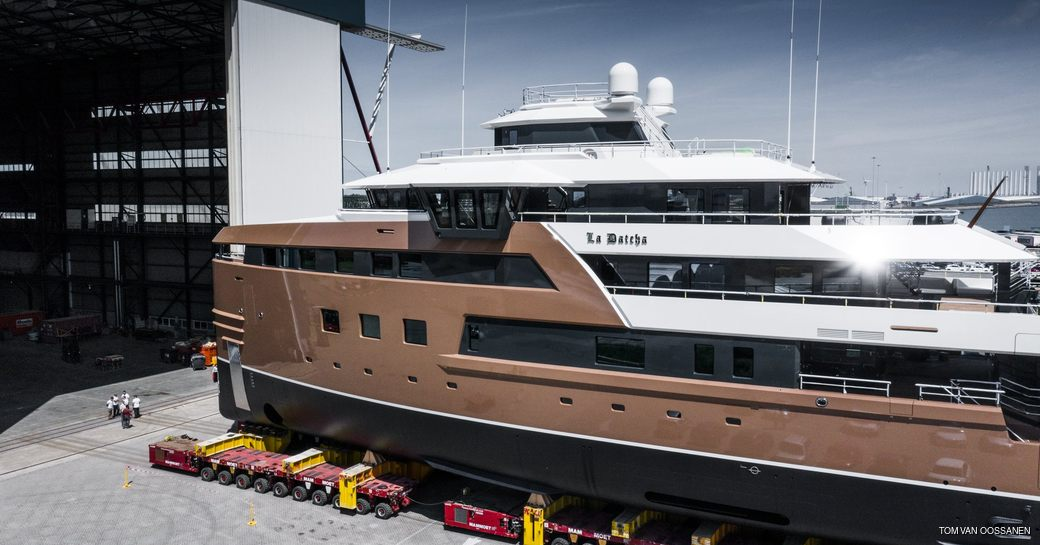 damen superyacht la datcha being rolled out of construction shed