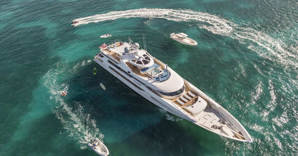 Aerial image of superyacht Trending surrounded by water toys