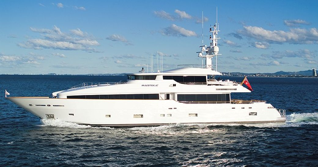 superyacht Masteka 2 cruising on a luxury yacht charter in the South Pacific