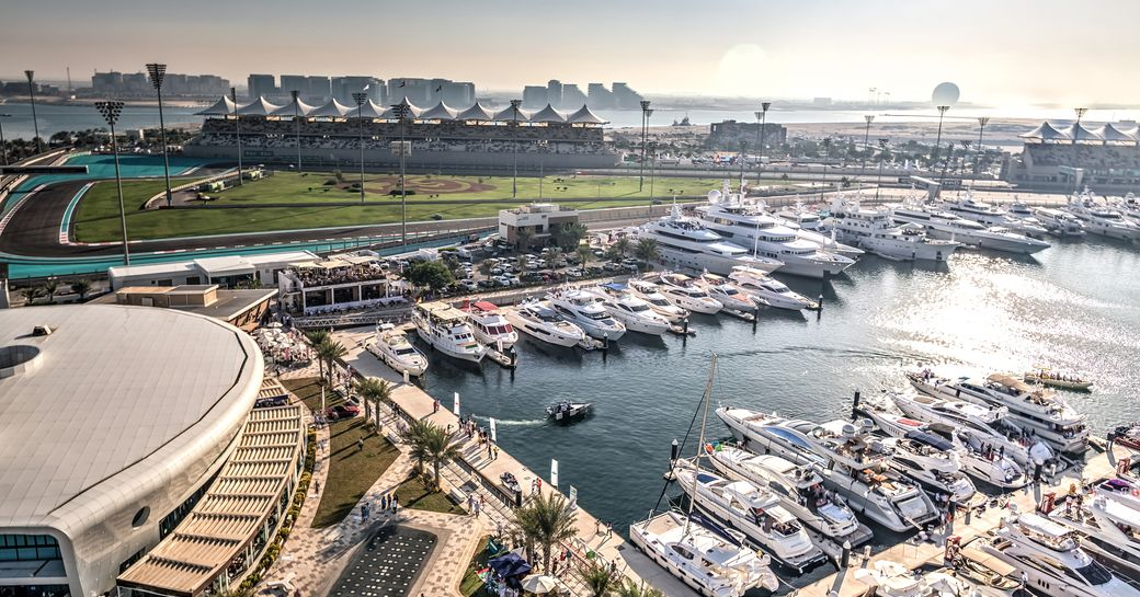 superyachts berth in Yas Marina in preparation for the Abu Dhabi Grand Prix