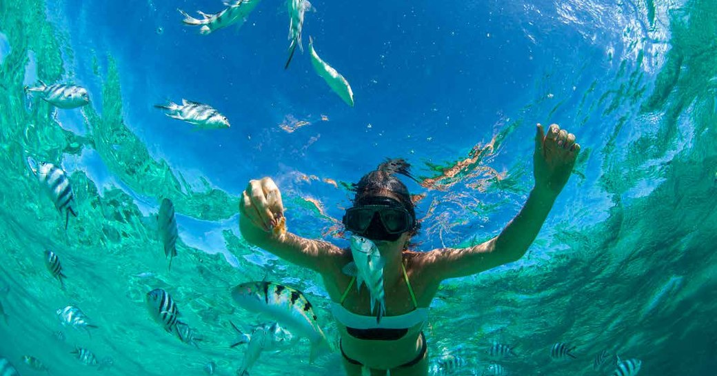 woman swims underwater alongside fishes on thanda island, with sky above her