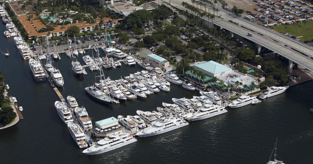 superyachts lined up for FLIBS