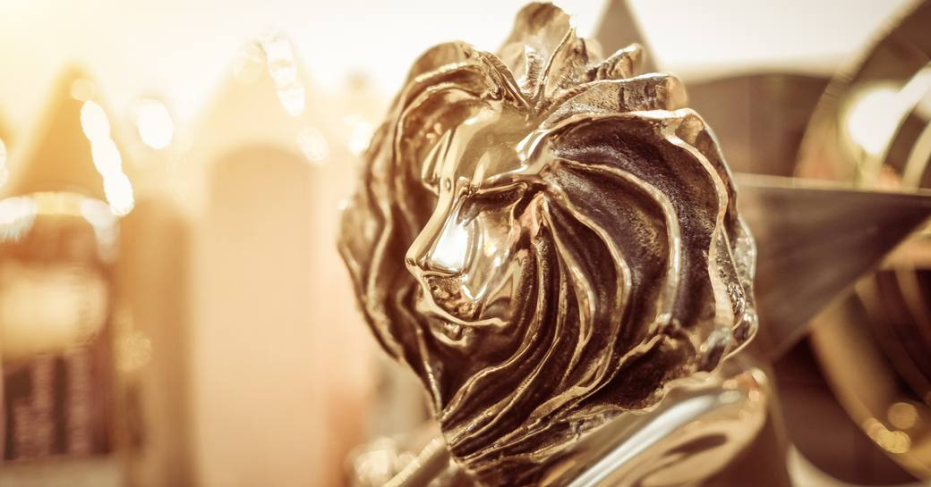 Close up of a Cannes Lions award.