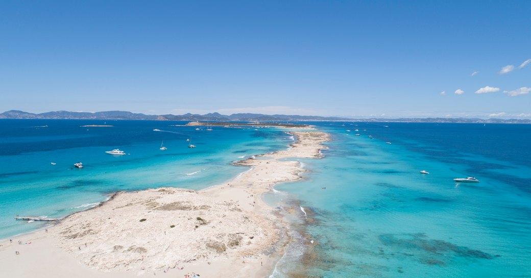 Aerial shot of Formentera