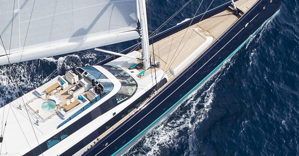 aerial shot of luxury sailing yacht aquijo underway