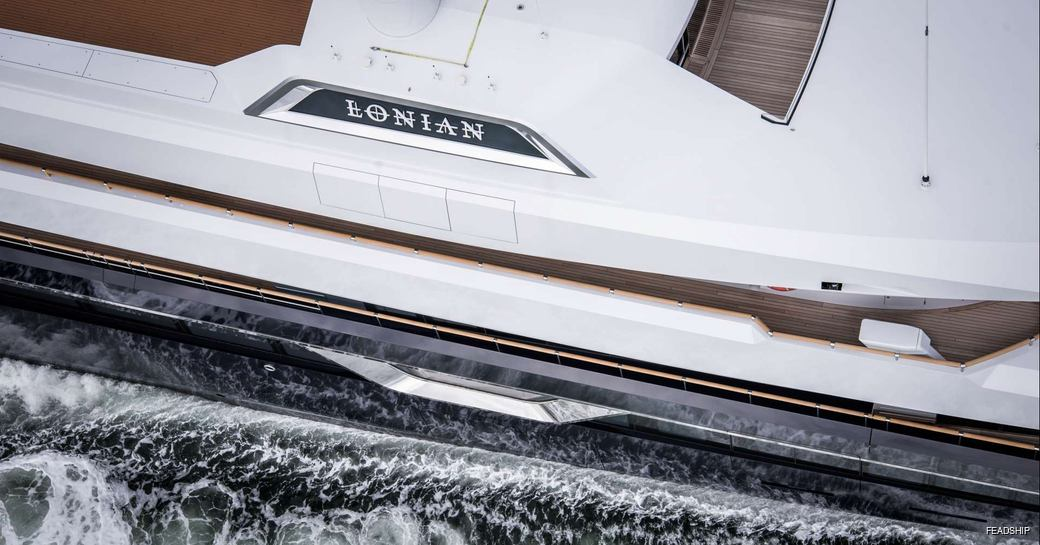 close up of Feadship luxury yacht LONIAN when cruising