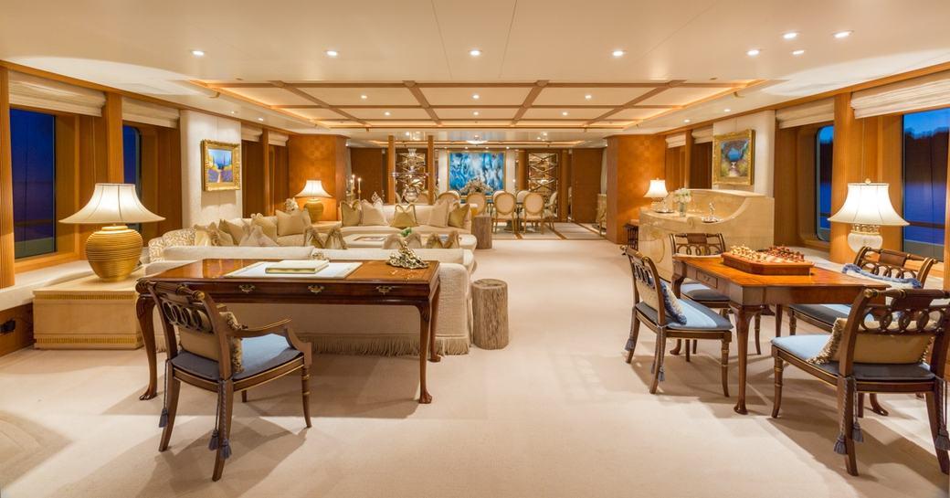 peaceful and elegant main salon aboard motor yacht CALLISTO