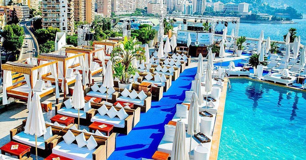 pool and loungers around nikki beach at fairmont hotel in monaco