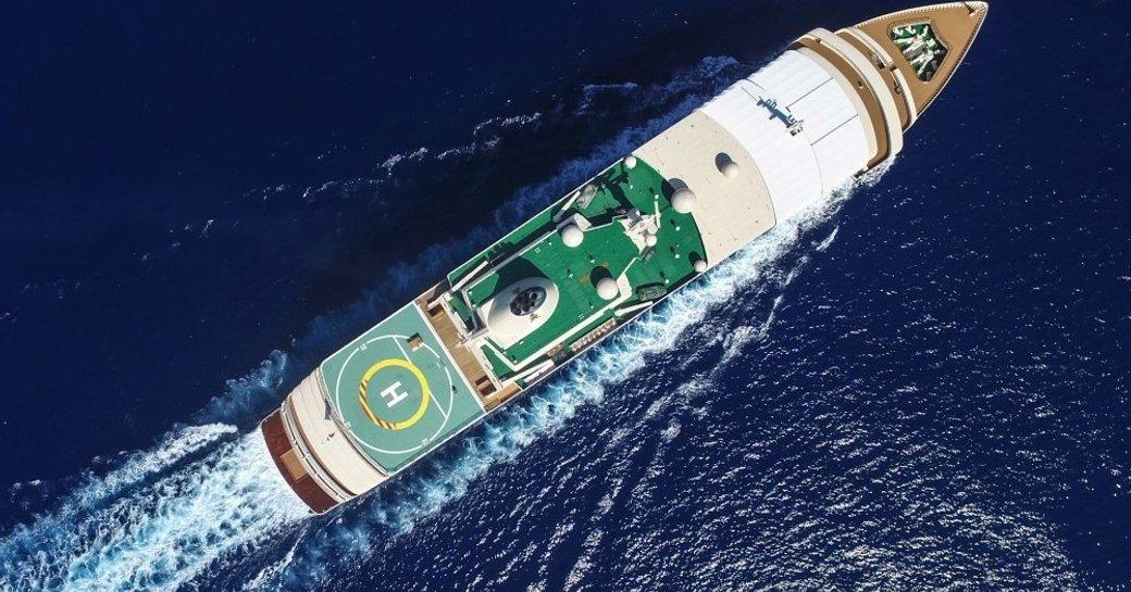 An aerial image of superyacht Fulk Al Salamah