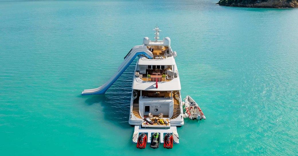 superyacht in the caribbean sea