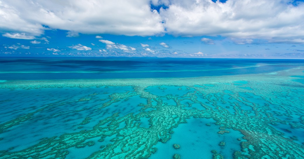 aerial view of the Great Barrier Reef along the Queensland Coast, Australia