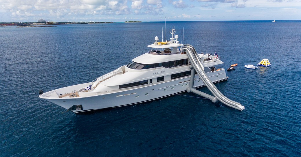luxury yacht all inn, with waterslide and inflatable toys