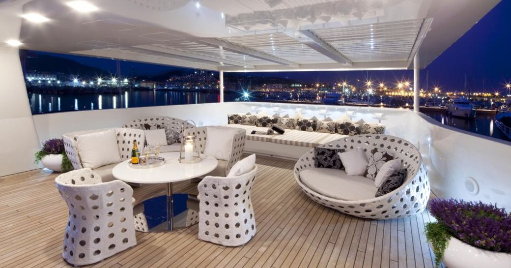 Modern furnishings on the exterior of superyacht VICKY
