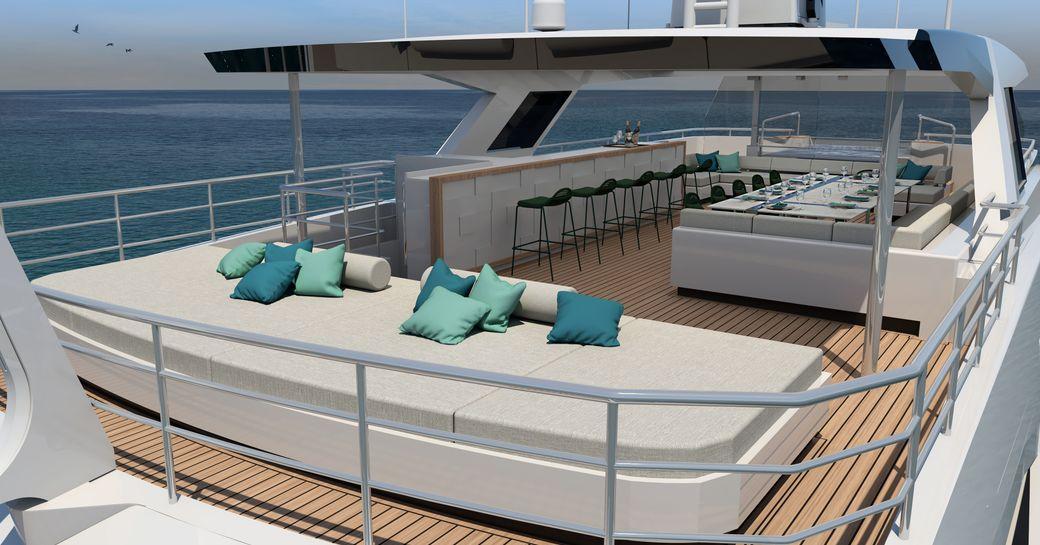 Sundeck on Explorer yacht EMOCEAN with sofa and bar area