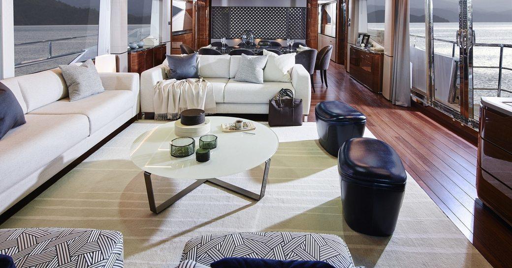 sociable lounge in main salon of motor yacht KOHUBA