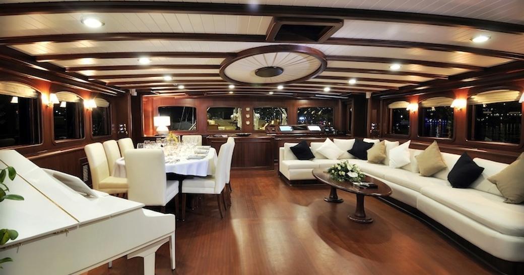 Saloon on board charter yacht REGINA