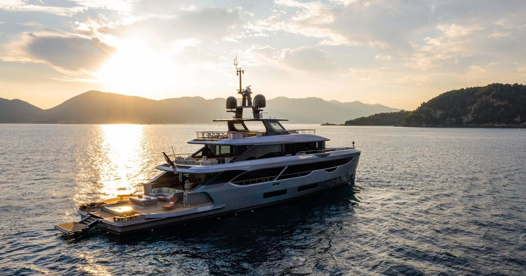 luxury yacht rebeca during sunset