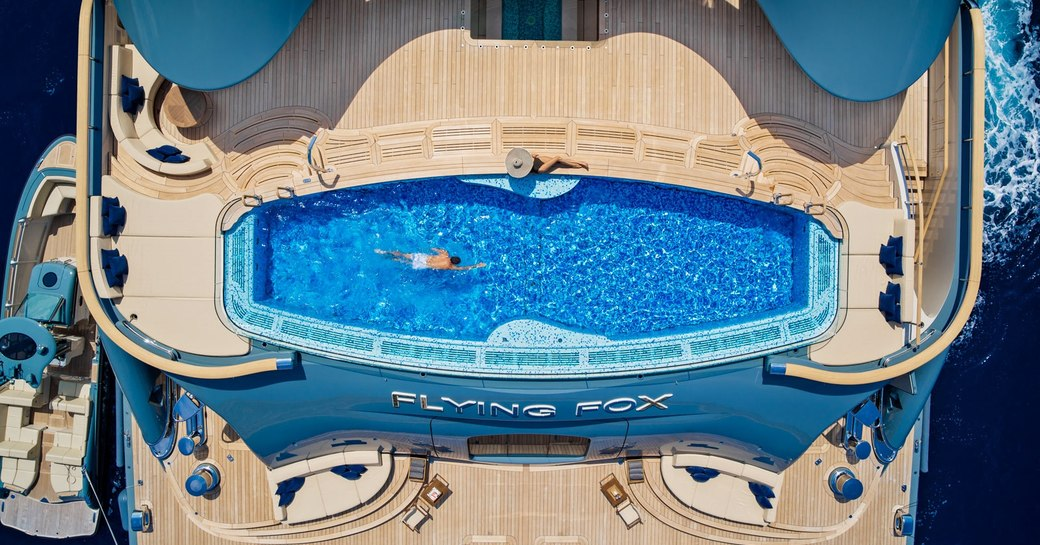 Swimming pool onboard MY Flying Fox