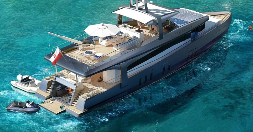 sundeck, main deck aft and drop down swim platform on board motor yacht Timeless