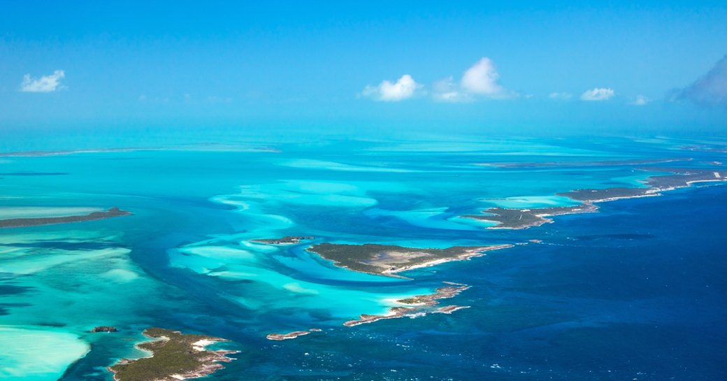 aerial image of the bahamas and exumas, lots of islands and clear blue sea