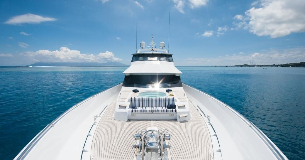 Jacuzzi and comfortable seating on bow of charter yacht DREAMTIME