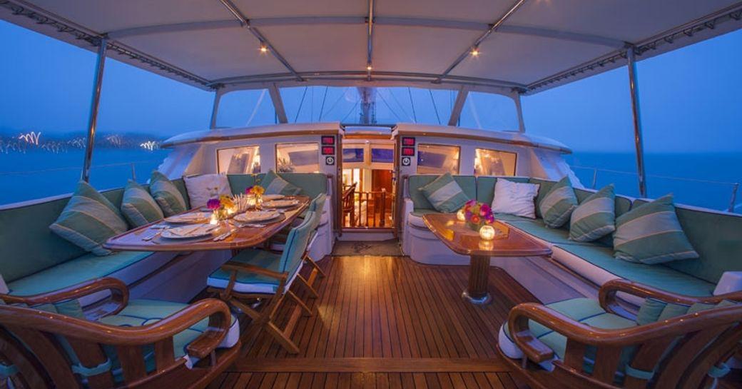 cockpit of luxury yacht Whisper at dusk