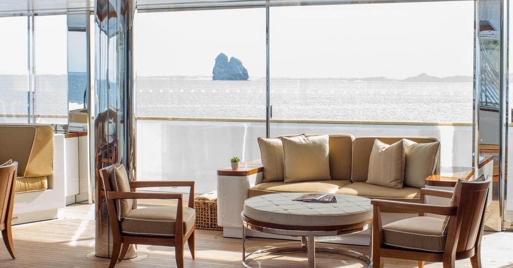 Luxury yacht Suri glass lounge