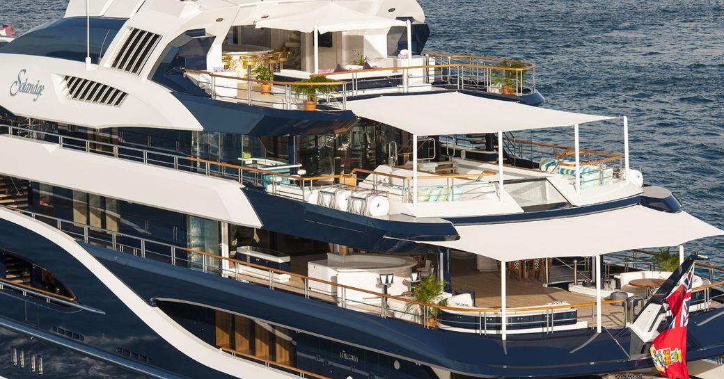M/Y Solandge's vast deck spaces