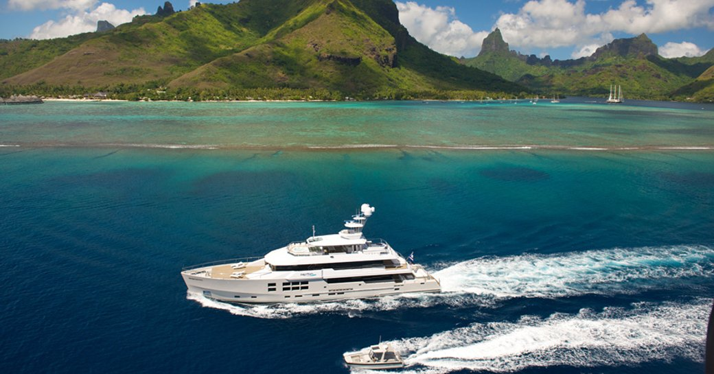 big fish superyacht underway in tahiti