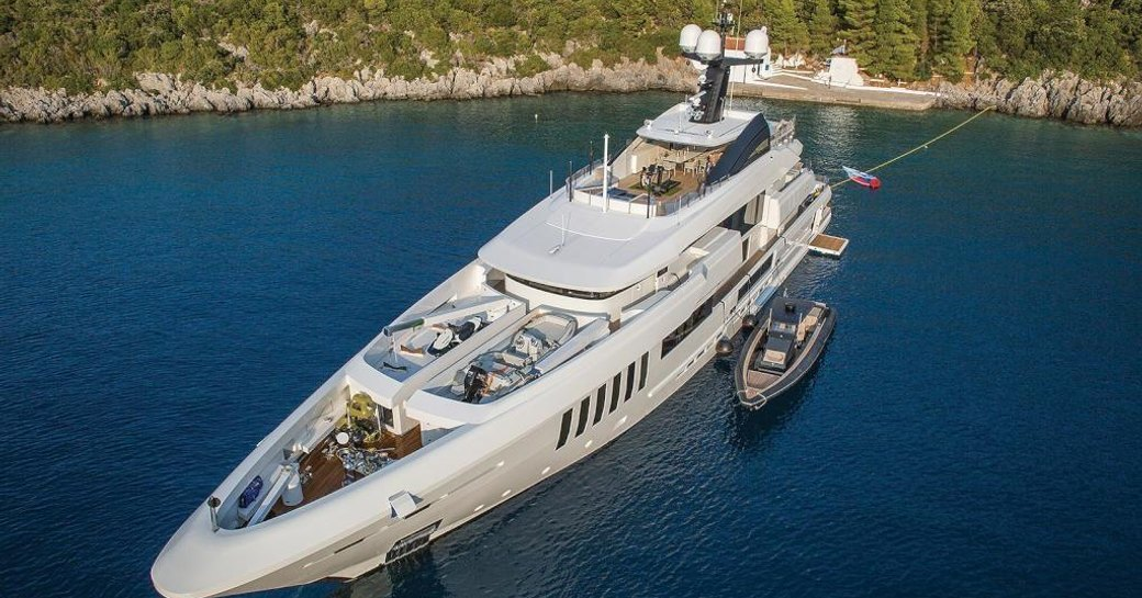 Superyacht OURANOS sat at-anchor