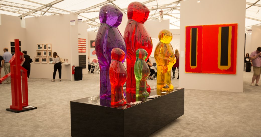 colourful contemporary sculptures and painting in Miami Convention Center for Art Basel Miami