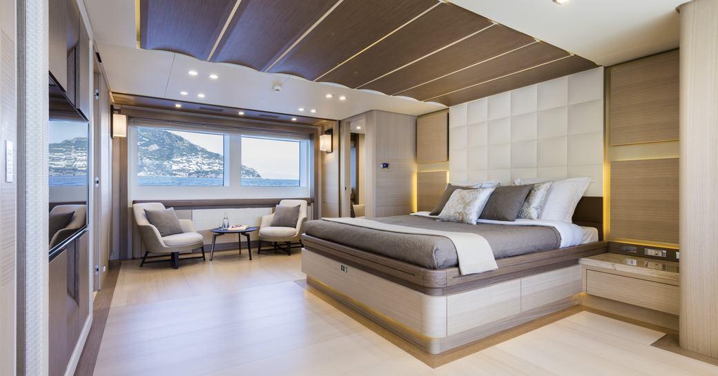 master cabin on board superyacht katia