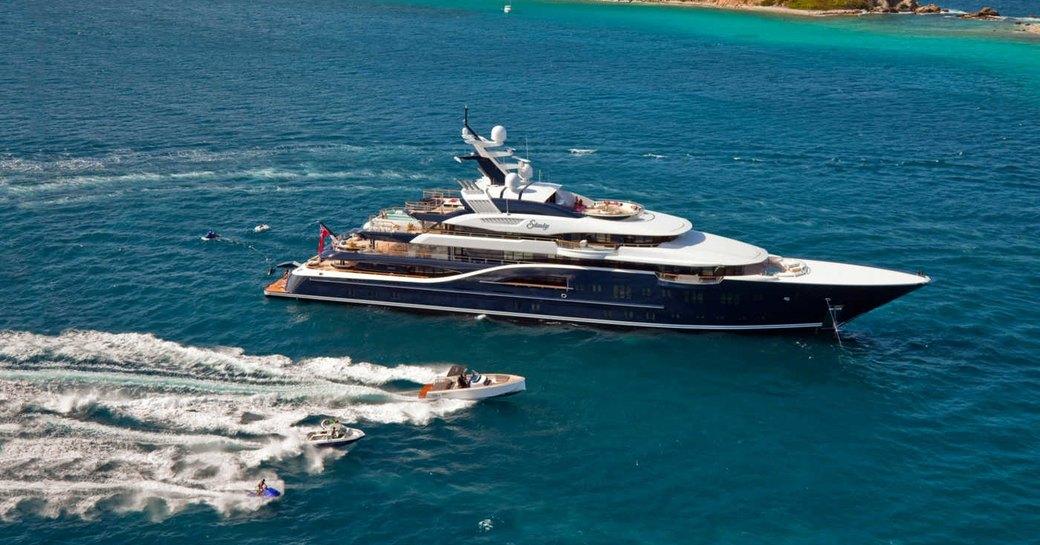motor yacht SOLANDGE cruises on a luxury yacht charter alongside tenders and jet skis