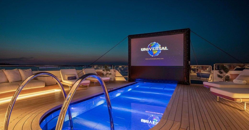 luxury yacht lunasea pool area with cinema screen