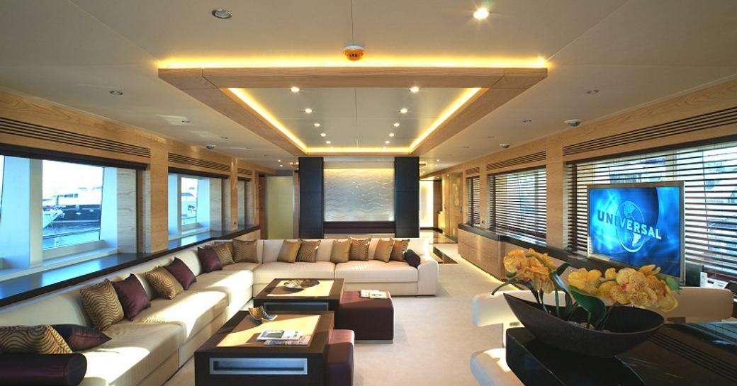 light, airy and contemporary main salon aboard superyacht TATIANA